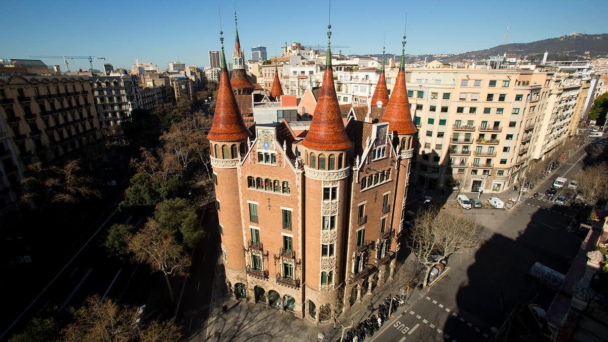 gaudi barcelona buildings - casa de les punxes