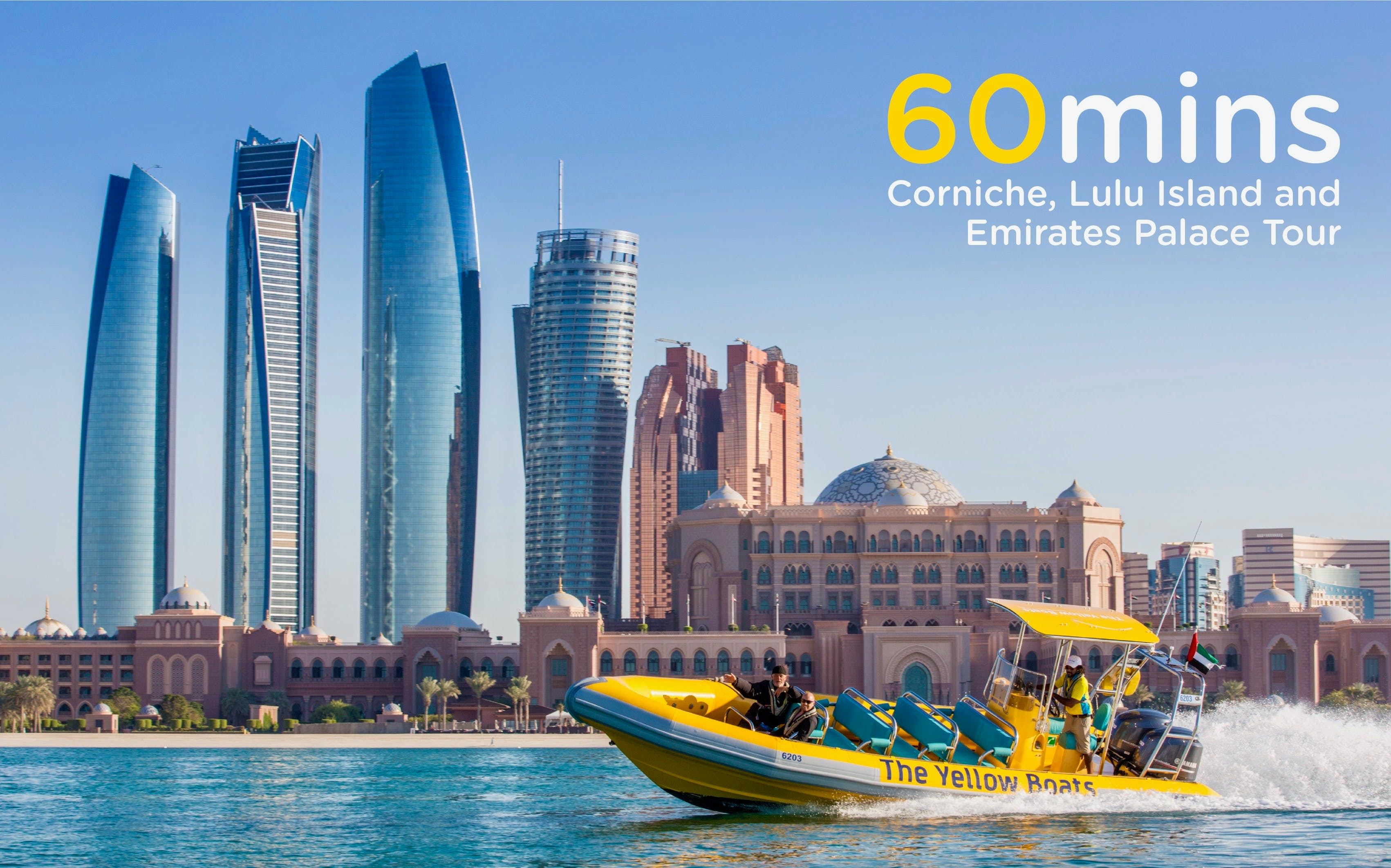 60 Minutes Emirates Palace, Corniche & Lulu Island Tour by The Yellow Boats