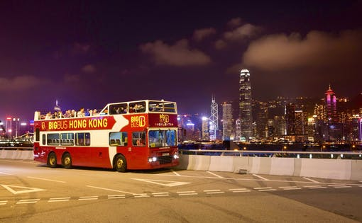 Hong Kong: Hop-On Hop-Off Night Tour Ticket