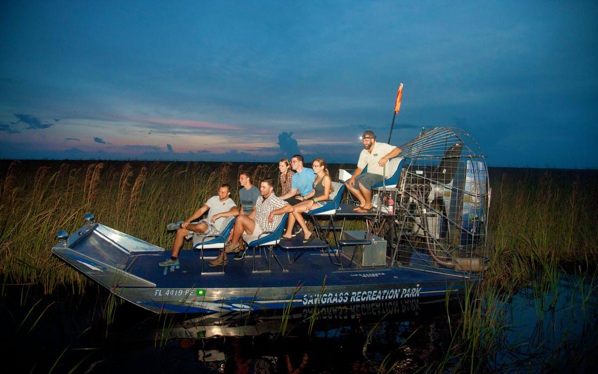 sawgrass recreaion park: airboat ride at night -1