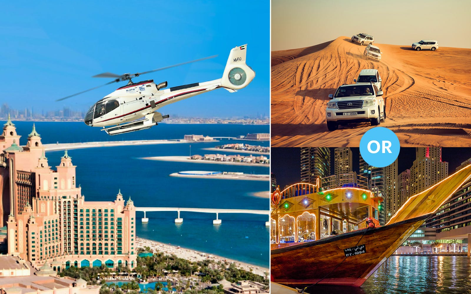 15 Minutes Luxury Helicopter Tour with Free Al Maha Desert Safari OR Dhow Dinner Cruise (Dubai Creek)