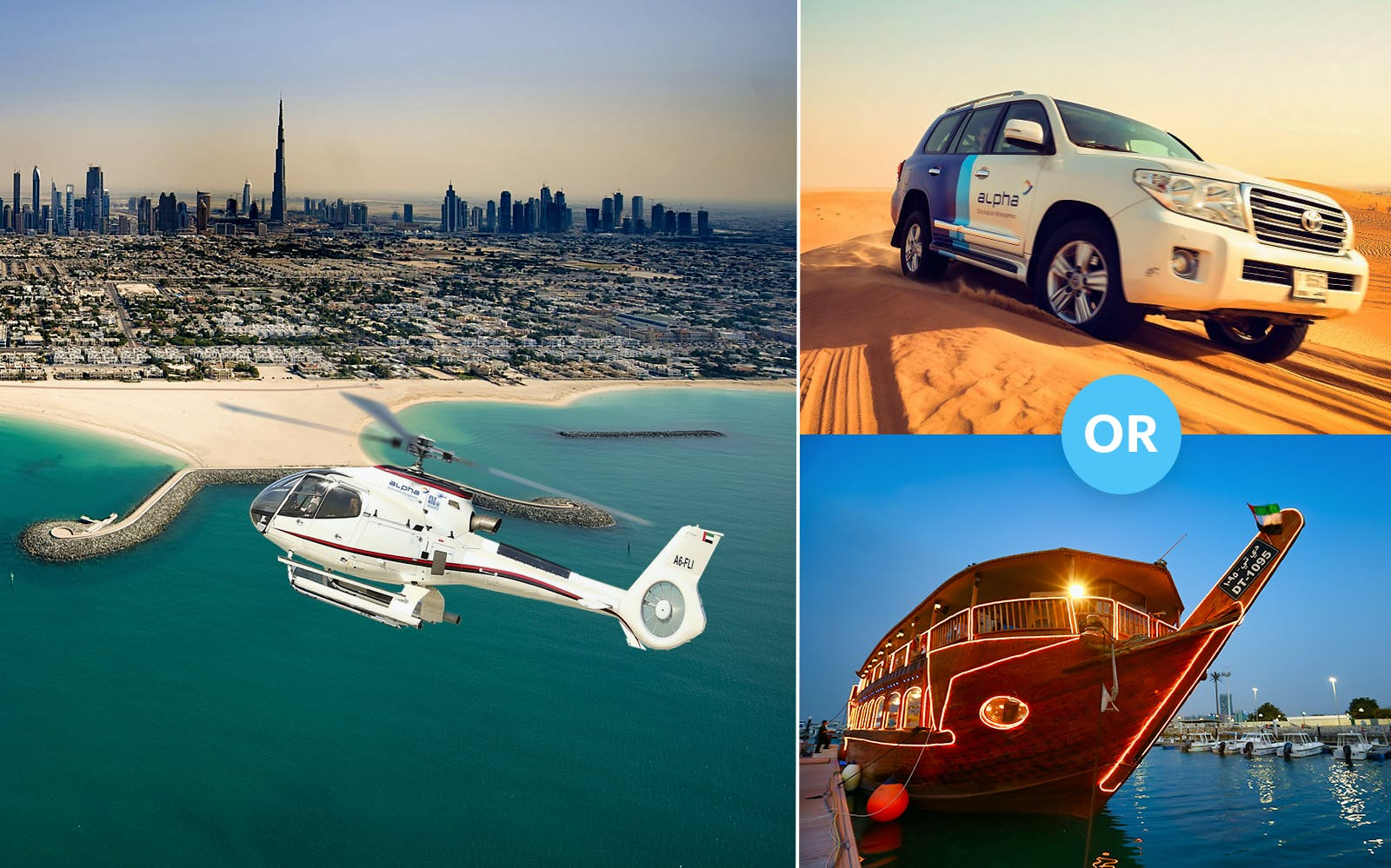 25 Minutes Luxury Helicopter Tour with Free Al Maha Desert Safari OR Dhow Dinner Cruise (Dubai Creek)