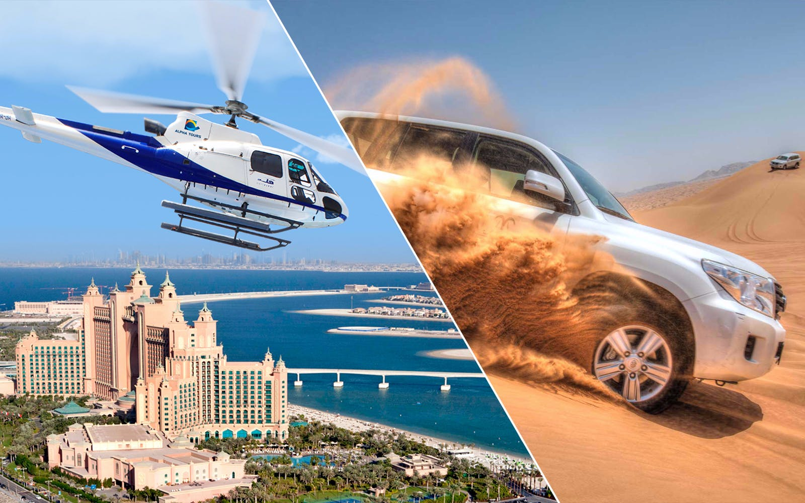 Iconic Helicopter Tour of Dubai & Desert Safari Combo
